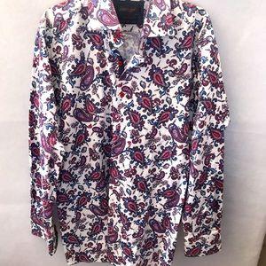 AXXESS Mens Dress Shirt Paisley Cotton 2XL